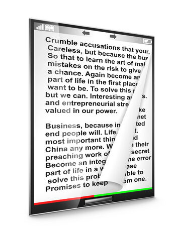 modern tablet with text on white background photo