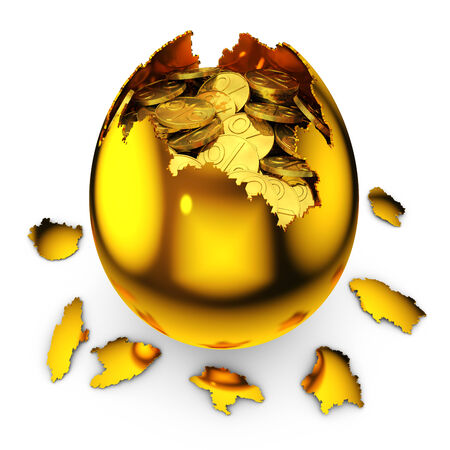 smashed golden egg with percent coins on white background photo