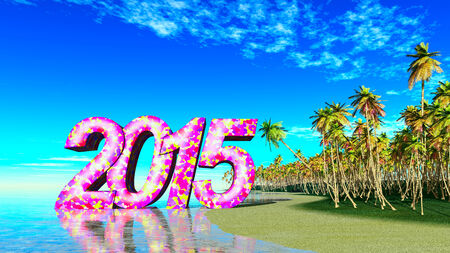 volumetric and colorful inscription 2015 on the shore of a tropical island