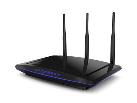 青色の信号指標と WiFi ルーター ブラック色