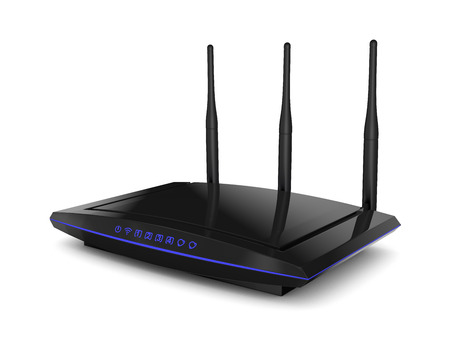 ethernet cable: WiFi router black color with blue signal indicators Stock Photo