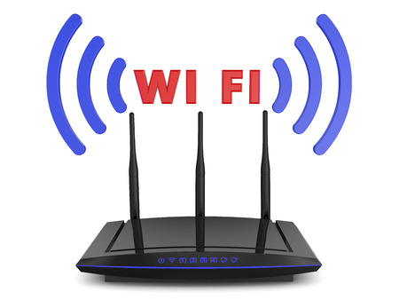 WIFI router with blue signal indicators and volumetric inscription WIFI