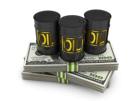 crude oil: barrels of oil on packs of dollars