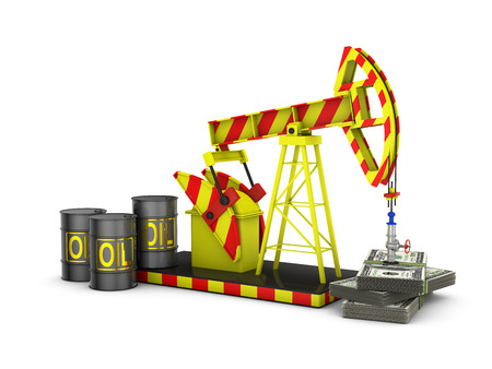 oil pump and a pack of dollars on a white background photo