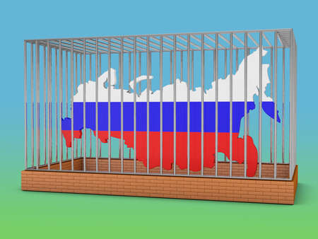 prisoner of the money: Russia map with flag image in a metal cell with the inscription sanctions