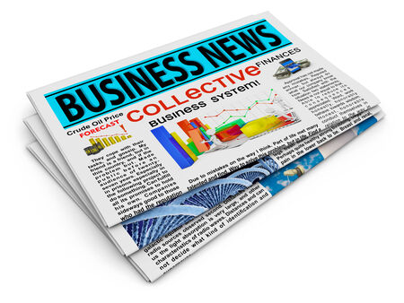 newspaper stack: Newspaper with business news on a white background