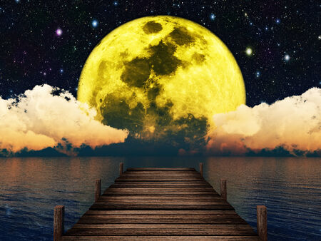 tranquillity: wooden pier on the background of the moon in the night sky