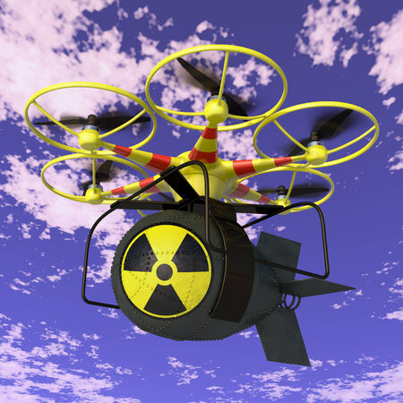 Flying drone to which is attached nuclear bomb.