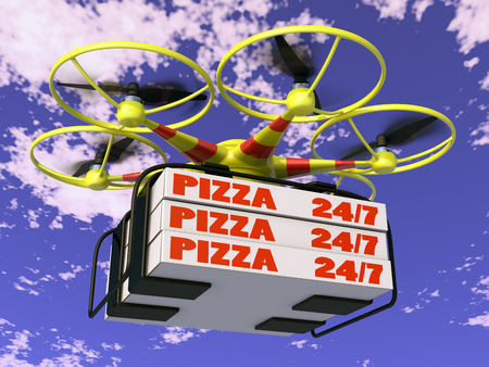 Flying drone to which are attached three boxes of pizza. Standard-Bild