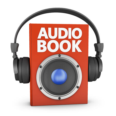 audiobook: red audiobook with speakers and headphones on a white background Stock Photo