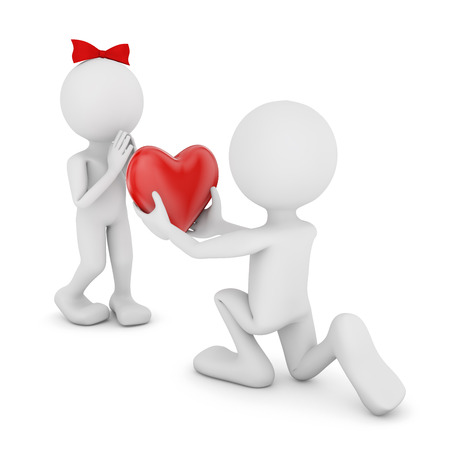 png: Man with a Heart in his Hands and a Man with a Bow.3d image. Transparent high resolution PNG with shadows. Stock Photo