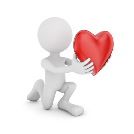 man with a heart in hands on a white background