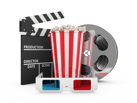 Popcorn, reel of film, 3D glasses and clapboard photo