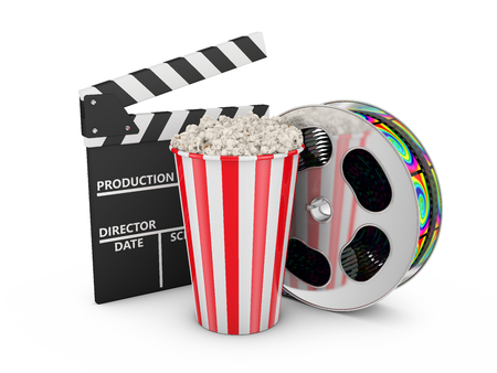 Popcorn, reel of film and clapboard on white background photo