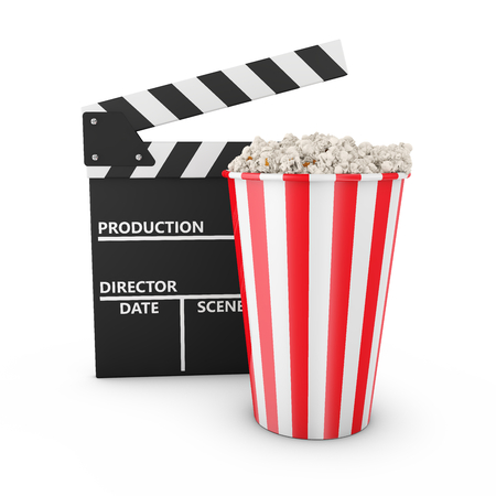 Popcorn and clapboard on white background 3d render photo