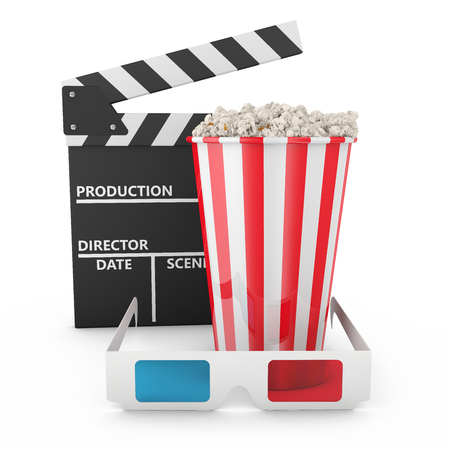 Popcorn,  3D glasses and clapboard on white background photo