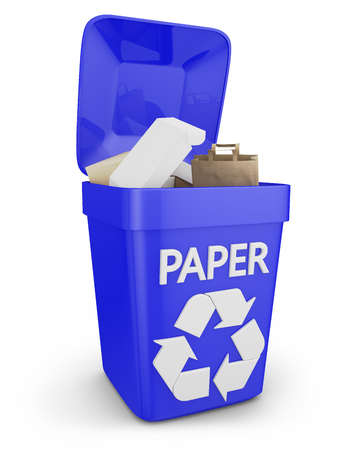 waste paper: container for waste paper on a white background
