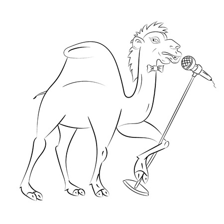 contour image of a camel with a microphone Vector