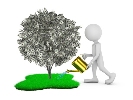 man watering tree with dollar bills on the green grass photo