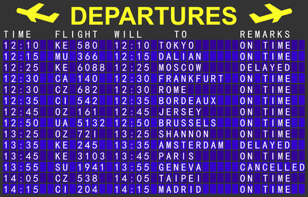 departures board with flights at the airport Ilustrace