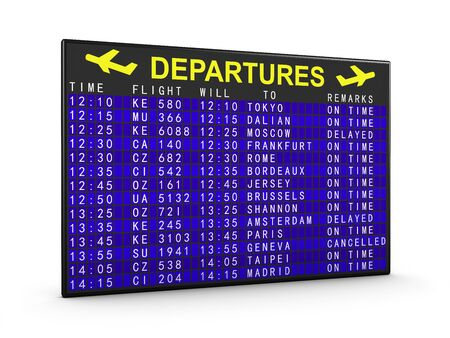 departure: departure board aircraft in the blue design Stock Photo