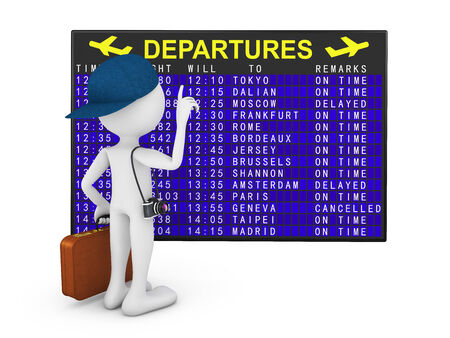 departures board: man with a suitcase and a camera on the background of departures board