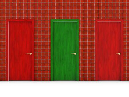 green door: green door and two red doors in the wall tiles