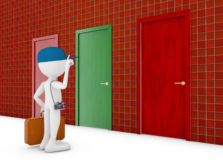 man with suitcase at the door 3d render photo