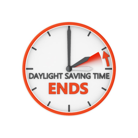 time change to daylight saving time on white background Stock Photo