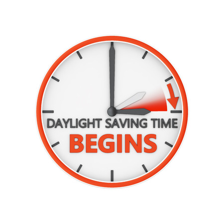 time of the day: time change to daylight saving time on white background Stock Photo