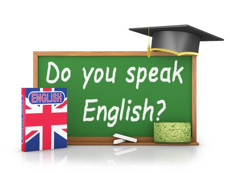 english book: English book with a flag and a chalk board on which is written -  Do you speak English? Stock Photo