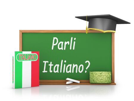 Italian book with a flag and a chalk board on which is written - Do you speak Italian? photo