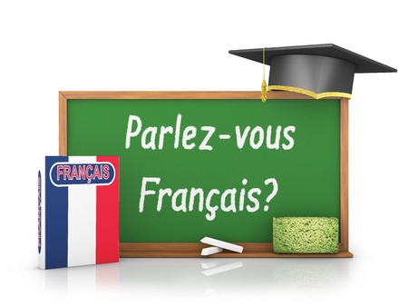 French book with a flag and a chalk board on which is written - Do you speak a French? Standard-Bild