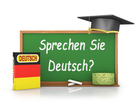 German book with a flag and a chalk board on which is written - Do you speak German?