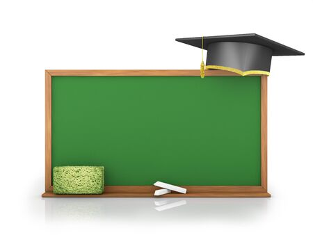 successful student: chalk board and graduate cap on a white background Stock Photo