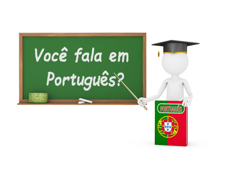 Man, Portuguese book with a flag and a chalk board on which is written - Do you speak Portuguese? photo
