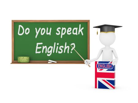english book: Man, English book with a flag and a chalk board on which is written -  Do you speak English?