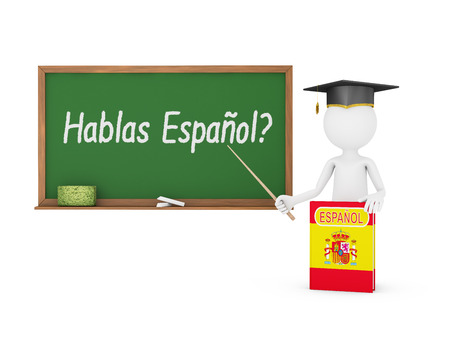 Man, Spanish book with a flag and a chalk board on which is written - Do you speak in Spanish?