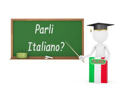 Man, Italian book with a flag and a chalk board on which is written - Do you speak Italian? photo