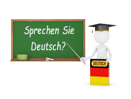 Man, German book with a flag and a chalk board on which is written - Do you speak German? photo