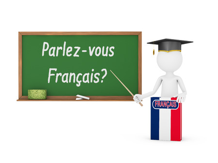 Man, French book with a flag and a chalk board on which is written - Do you speak a French? photo