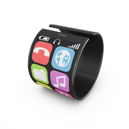 strongly: modern flexible touchscreen smartphone which strongly twisted Stock Photo