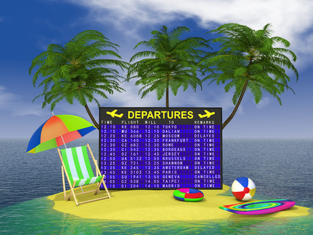 departure board aircraft on a tropical island photo