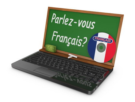 art of building: Laptop with CD and chalk board instead of the screen on which is written - Do you speak French? Stock Photo
