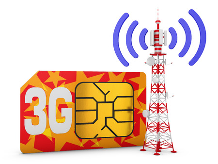 3g: Sim card with the inscription 3G and telecommunication tower with signal. Stock Photo