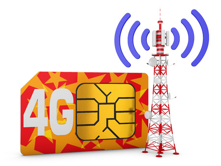 Sim card with the inscription 4G and telecommunication tower with signal.