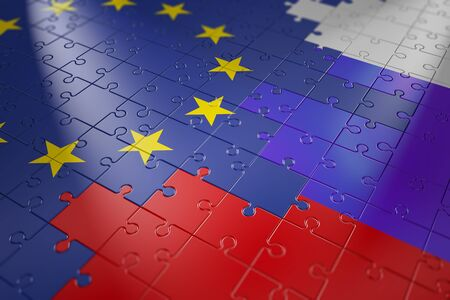 european union: puzzles in the form of flags of Russia and the European Union