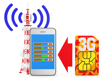 3g: Smartphone with bar download, sim card with the inscription 3G and telecommunications tower signal. Stock Photo