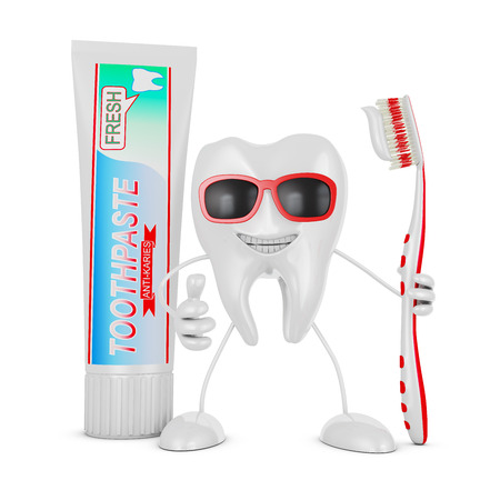 Smiling tooth with glasses holding a toothbrush near the a tube of toothpaste. photo