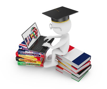 francais: man with laptop sitting on a pile of books on learning of languages